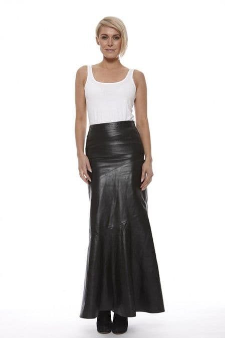 Women Leather Full length Skirt in Black